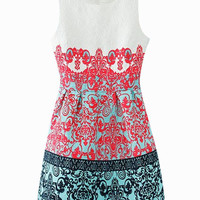 Red Baroque Print Sleeveless High-Waisted Casual Mini Dress
