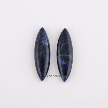 Sodalite Gemstone-Marquise Pair 10x35 mm-Wholesale Gemstone-Calibrated Cabochon-Loose Gemstone