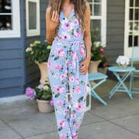 Modern Marilyn Self Tie Floral Halter Jumpsuit (Blue)