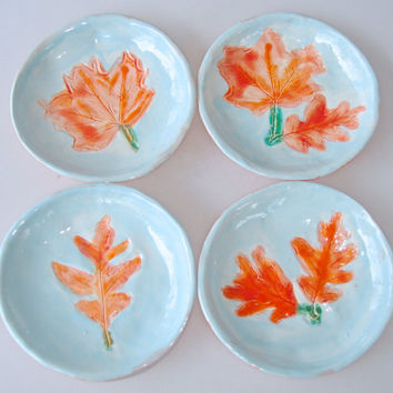 Coaster set, gift under 25, food prep bowls, small plates, trinket dish, hostess gift, small dishes, leaf dish, turquoise and coral