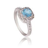 Fashion Plaza 1ct created Blue Topaz pave CZ Cubic Zirconia Wedding Engagement Ring (available in sizes 5 6 7 8 9) R350 (6)