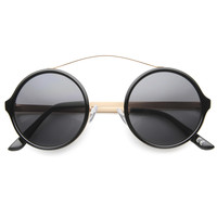 Retro Hipster Round Arched Crossbar Sunglasses 9841