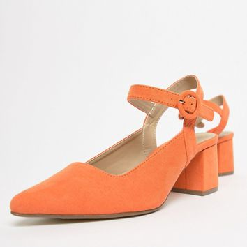 Missguided Faux Suede Pointed Block Heeled Shoes at asos.com