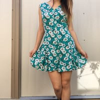 Vintage 90s Turquoise Daisy Romper Shorts Playsuit