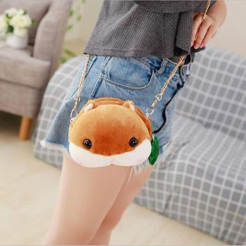 1pc  Kawaii Plush Animal Hamster Messenger Bag Cute Soft Shoulder Coin Purse Plush Bag Girl Children Birthday Gift/16cm