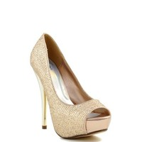 Gold Shimmer 'Walnut' Peep Toe Platform High Heel