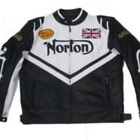 Men Racing Moto Norton White Biker Leather Jacket Front Paddings Safety Pads New