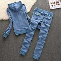 Juicy Couture Fashion Casual Long Sleeve Zipper Hoodie Long Pants J Velvet Two Piece Set Blue G-ALNZ