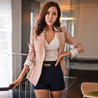 'The Willow' Pink Collared Pleated Blazer