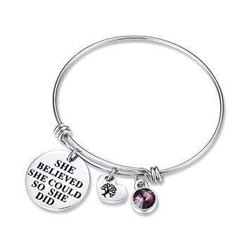 AUGUAU 'She Believed She Could So She Did' Birthday Gifts Bracelet with Birthstone and Heart Tree of Life