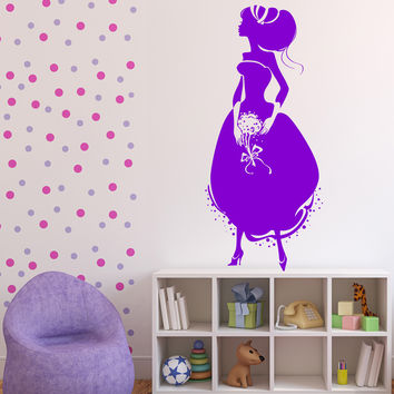 Wall Vinyl Decal Cinderella Princess Crystal Shoe Ball Gown Unique Gift z4599