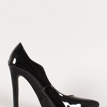 Patent Wavy Edge Pointy Toe Stiletto Pump