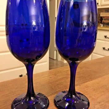 "Set of 2 - Libbey Premiere Cobalt Blue Glass Wine 7.25"" Replacement Goblets EUC"