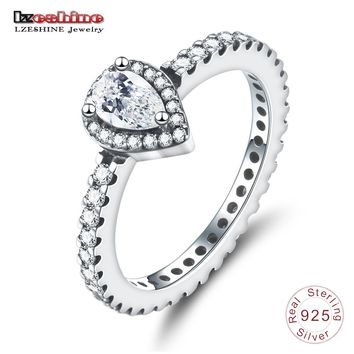 LZESHIN Classic 925 Sterling Silver Radiant Teardrop Ring For Women High Quality Wedding & Engagement Ring For Bridal Jewelry