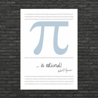 Science art - Mathematics - The Feynman point poster typographic print (from US Letter & A4 up to A0 size)