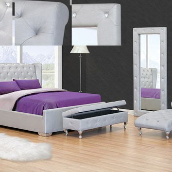 Best Master JP02 Ashton ii silver finish leather like vinyl tufted queen bed frame set with crystal button tufting