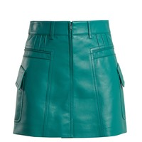 Pintucked grained-leather mini skirt | Prada | MATCHESFASHION.COM US