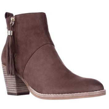 STEVEN by Steve Madden Beti Tassel Zipper Ankle Booties, Brown, 10 US