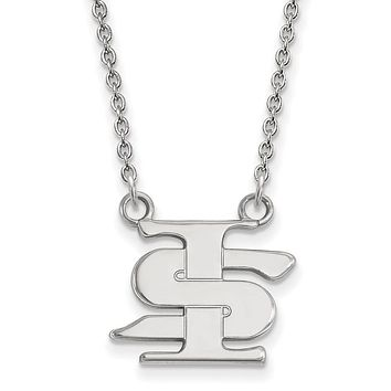 NCAA 14k White Gold Indiana State Small Pendant Necklace