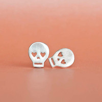 Silver Skull Earrings, Skeleton Earrings, Pirate Earrings, Sugar Skull Earrings