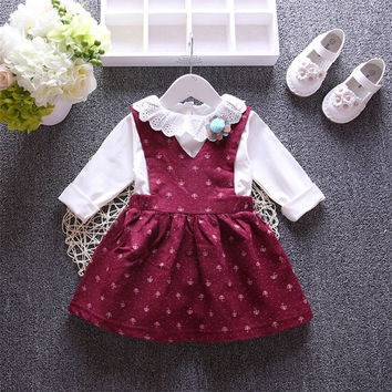 vestidos roupas de bebe Autumn Baby Girls Umbrella Print Overalls Kids Party False Two Pieces Dress Infant Clothes