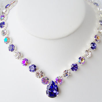 Swarovski crystal rhinestone necklace / Tanzanite / Purple / Alexandrite / Statement necklace / Bridal / Tennis necklace