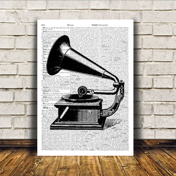 Retro print Vintage gramophone poster Antique art Modern decor RTA57