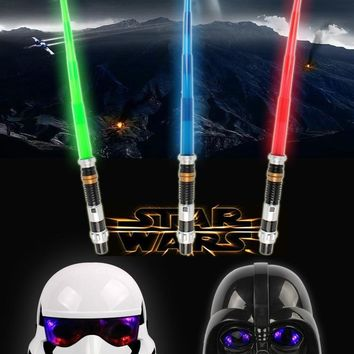 Star Wars Force Episode 1 2 3 4 5 2pcs Masks and 1pcs  Telescopic Lightsaber with Light Sound Led Cospay Saber Birthday Halloween Party Toys for Children AT_72_6