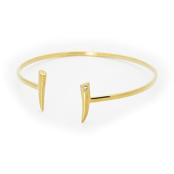Open Bangle Bracelet Horn Ends Cz in Sterling Silver Gold Plated