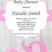 Girl Baby Shower Invitation Elephant Baby Shower Invitations Girl Baby Shower Invites Pink (82-VW) -Free Thank You Card Instant Download