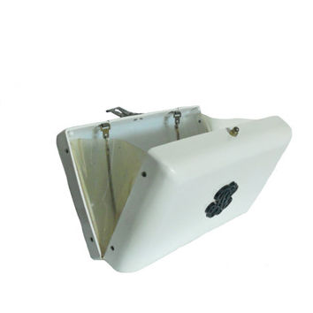 Vintage Purse White Lucite Opaque Plastic Box Clutch with Folding Chain Handle and Transparent Plastic Sides - Snap Closure