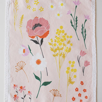 Pink Floral Dishtowel by lisaruppdesign on Etsy