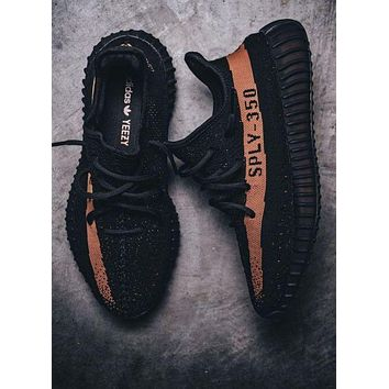 """Adidas"" Fashion Casual Women Yeezy Boost Sneakers Running Sports Shoes Black+Orange G"