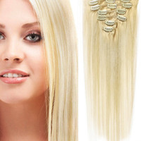 """18"""" Clip-In Human Hair Extensions - #60 Light Blonde"""