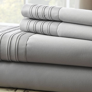 1000 Thread Count 4-Piece Sheet Set with Pleated Hem Gray Queen