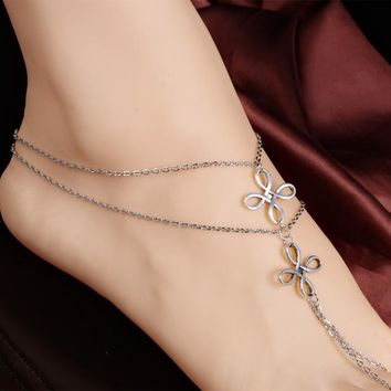 Beach Multi Tassel Toe Chain Link Foot Anklet- Fashion Jewelry