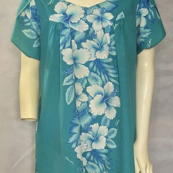 Vintage ROYAL CREATIONS Hawaiian Dress / Tropical Aqua Blue Hibiscus Flower Kaftan / Summer Floral Midi Tunic Dress / Hawaii Island Casual