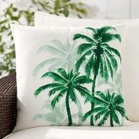 Palm Trees Print Indoor/Outdoor Pillow