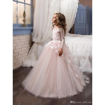 Christmas Long Sleeve Flower Girls Dresses for Weddings Appliques Tulle Girls First Communion Dresses Kids Pageant Gowns FH21