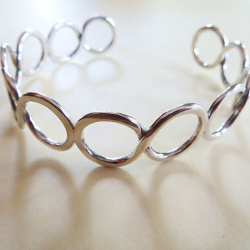 Sterling Silver Cuff Infinity Bracelet Handcrafted