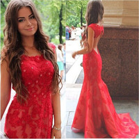 Red Lace Backless Mermaid  Prom Dresses,Prom Dress