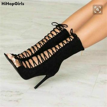 HiHopGirls 2018 Spring Autumn Gladiator Sexy Women Flock Peep toe pumps Cross Straps stiletto Thin high heels shoes woman boots
