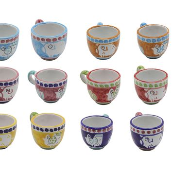 Vietri Chicks & Pigs Twelve Espresso Cup Set