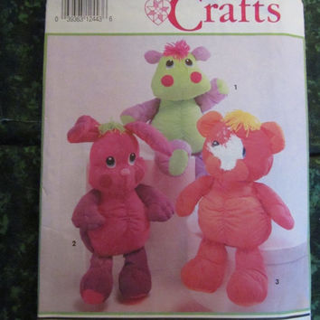 25% Off 1992 Simplicity Sewing Pattern, 7808! Arts and Crafts Stuffed Animal Toy Pattern, Bears/Bunnies/Hippo, Children's/Kids/Boys/Girls To