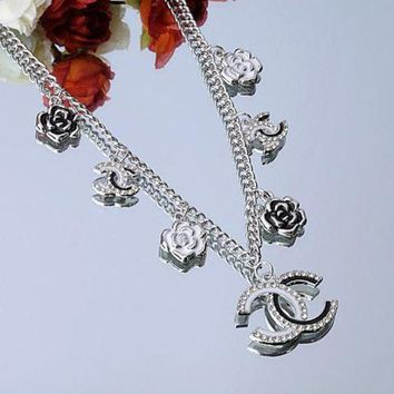 PEAPYV2 Chanel Woman Fashion Logo Flower Chain Necklace