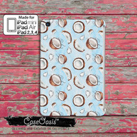 Coconut Pattern Blue Watercolor Summer Fruit Tropical Coco Tumblr Inspired Cute Custom iPad Mini, iPad 2/3/4 and iPad Air Case Cover