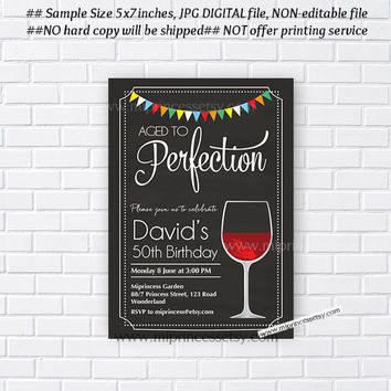 wine invitation, Red Wine birthday invitation, Aged to Perfection, Chalkboard Party wine Invitation cheers for any age  - card 383