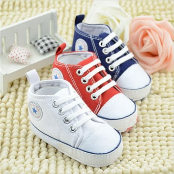 Infant Toddler Newborn Baby Shoes Unisex Kids Classic Sports Sneakers Soft Bottom Anti-slip T-tied Shoes