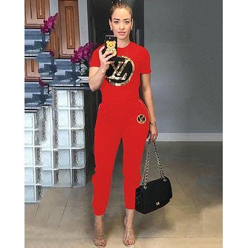 LV Louis Vuitton Fashionable Women Casual Sequins Top Pants Trousers Set Two-Piece Sportswear Red