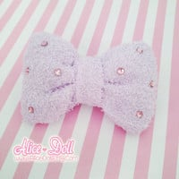 Fairy Kei Sweet Lolita Pastel Light Lavender Terry Soft Pink Crystal Hair Bow Clip